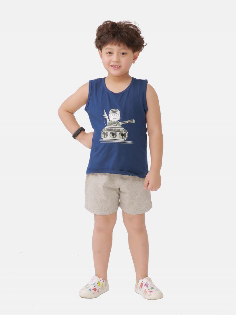Bộ sát nách bé trai Ardilla in họa tiết bộ đội dễ thương, chất liệu cotton K121BSS20