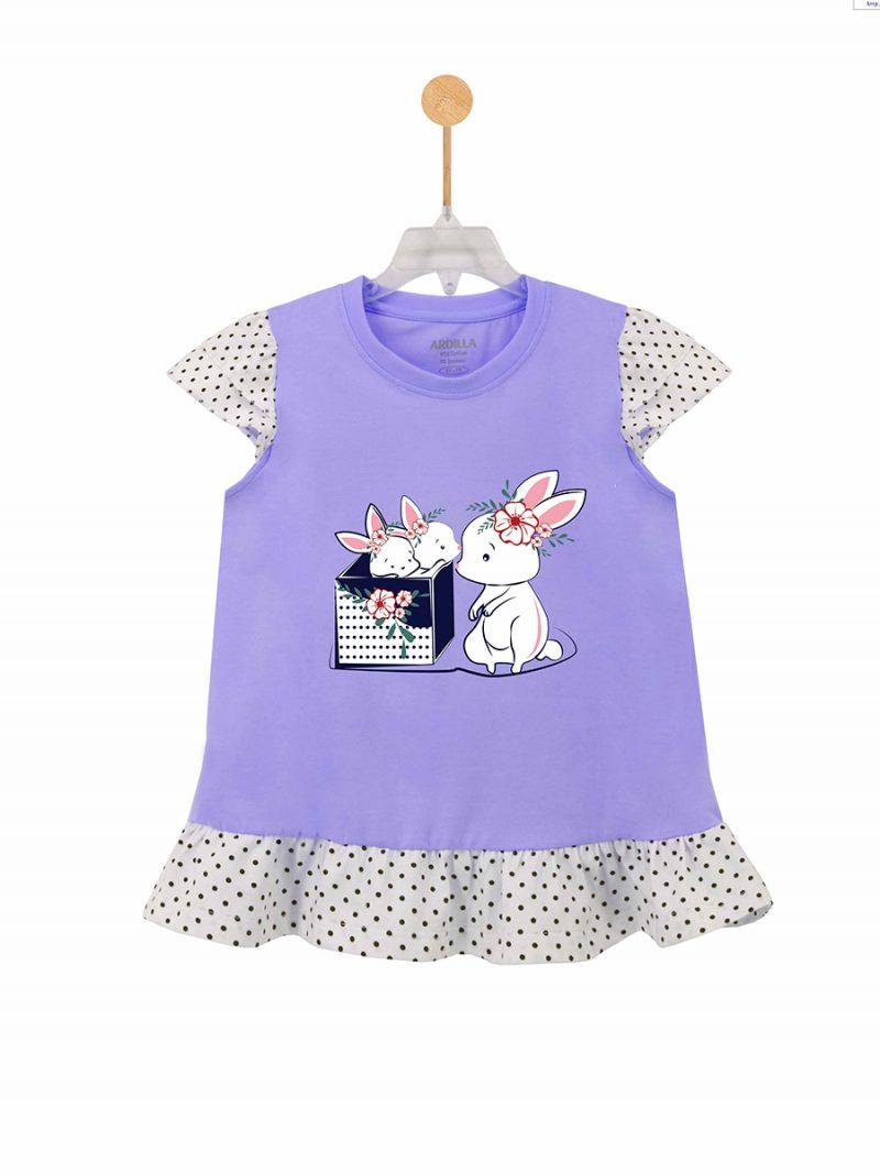 Áo phông bé gái phối bèo ARDILLA chất liệu Cotton hình in Rabbits dễ thương K88GSS20