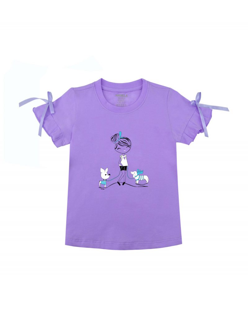 Áo thun bé gái có nơ thắt ARDILLA chất liệu Cotton hình in công chúa dễ thương K89GSS20