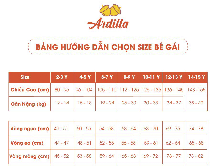 Size Chart -Ardilla- Be Gai-900x696