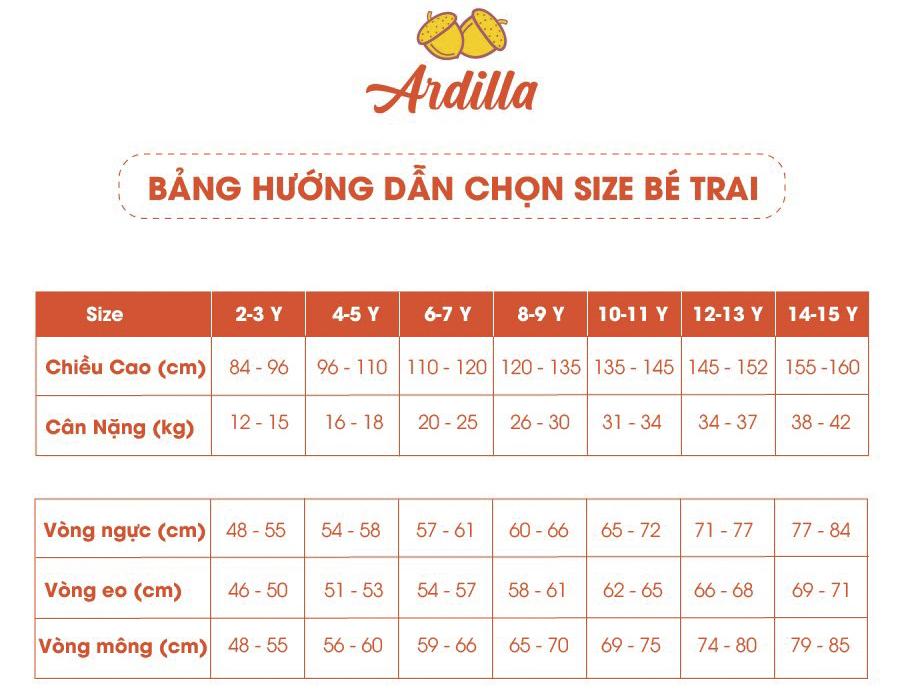 Size Chart -Ardilla- Be Trai-900x696