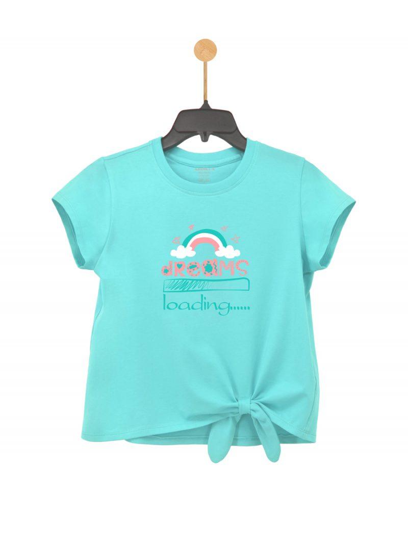 Áo thun bé gái cổ tròn ARDILLA chất liệu Cotton hình in Cầu Vồng thoáng mát T90GSS20